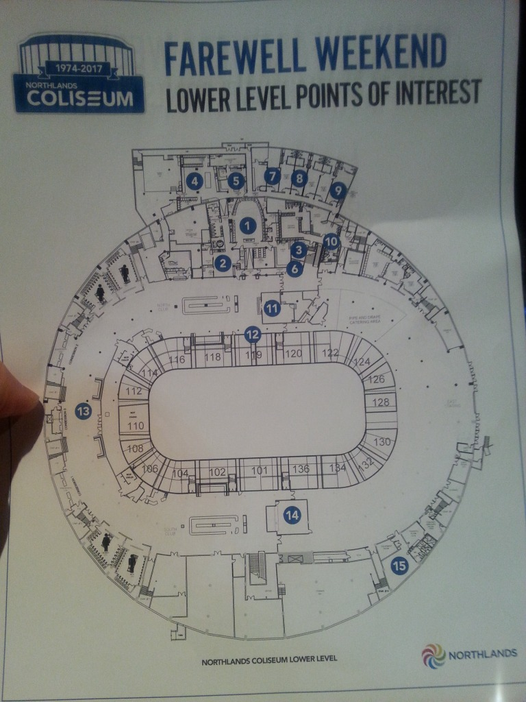 "A ""Points of Interest"" map of the Edmonton Coliseum."