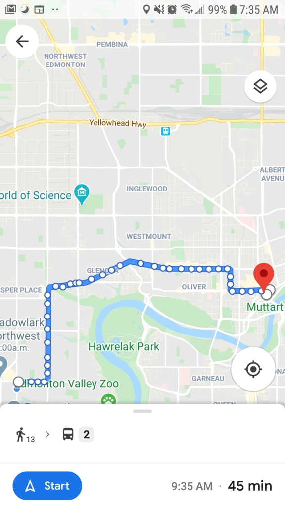 Screenshot of Google Maps showing walking and bus directions in Edmonton.