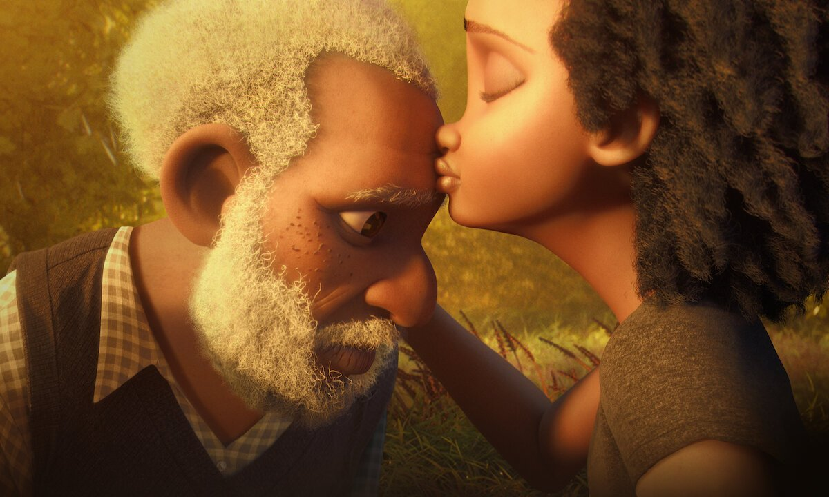 Scene from animated movie Canvas. The main character, an elderly gentleman, sadly looks down as his adult daughter kisses him on the forehead.