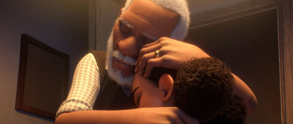 Screenshot from movie Canvas, elderly grandfather hugging his granddaughter.
