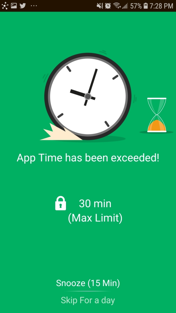 "Screenshot of app alerting ""app time has been exceeded""."